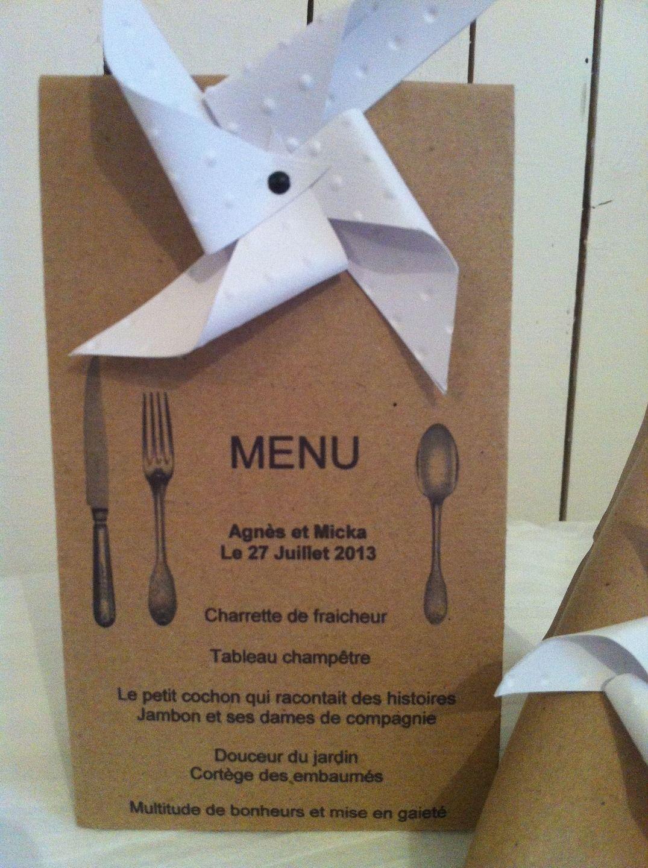 Boite a dragees menu moulin a vent original pour mariages for Menus sympas et originaux