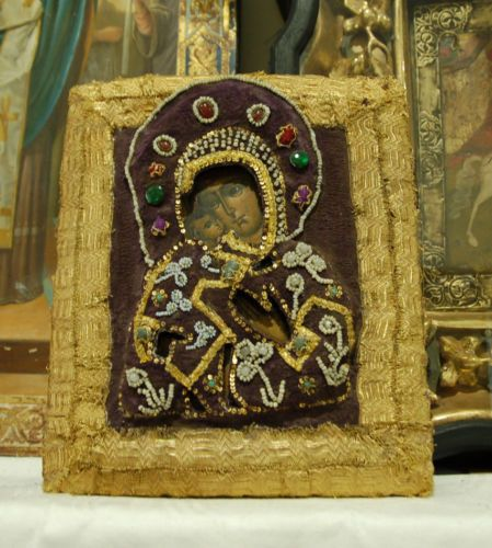 "Super amazing 19 c. Embroidered and beaded Russian Icon ""FEDOROVSKAYA"", rare!! 