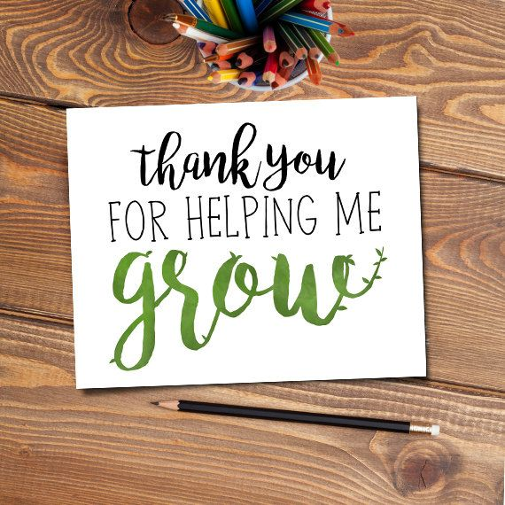Thank You For Helping Me Grow Digital 8x10 Printable Poster