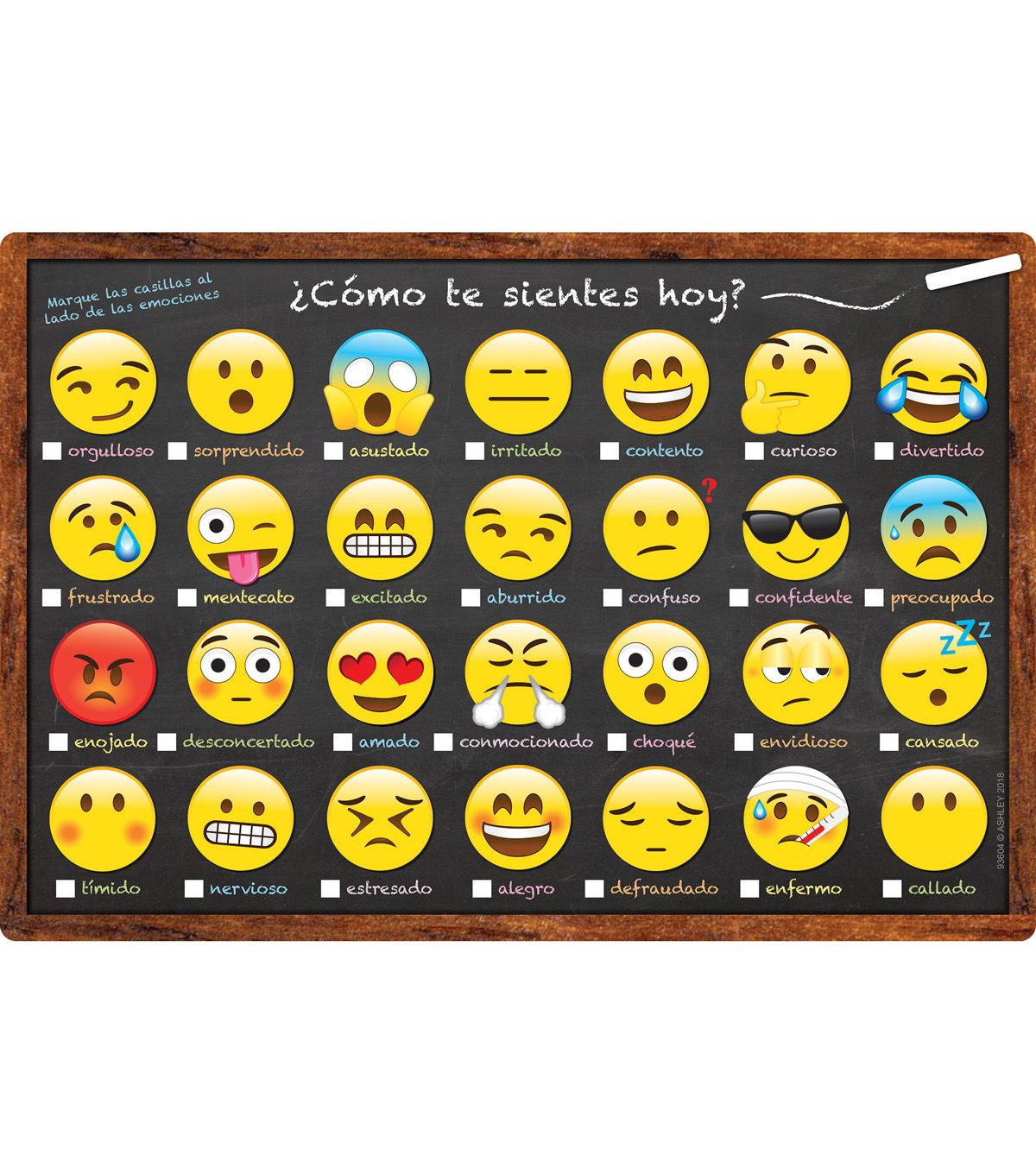 Spanish Chart Emoji How Are You Feeling Today 10pk
