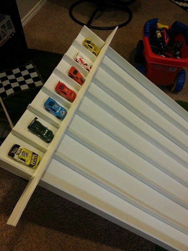 DIY homemade race track ramp using tri-fold form display ...