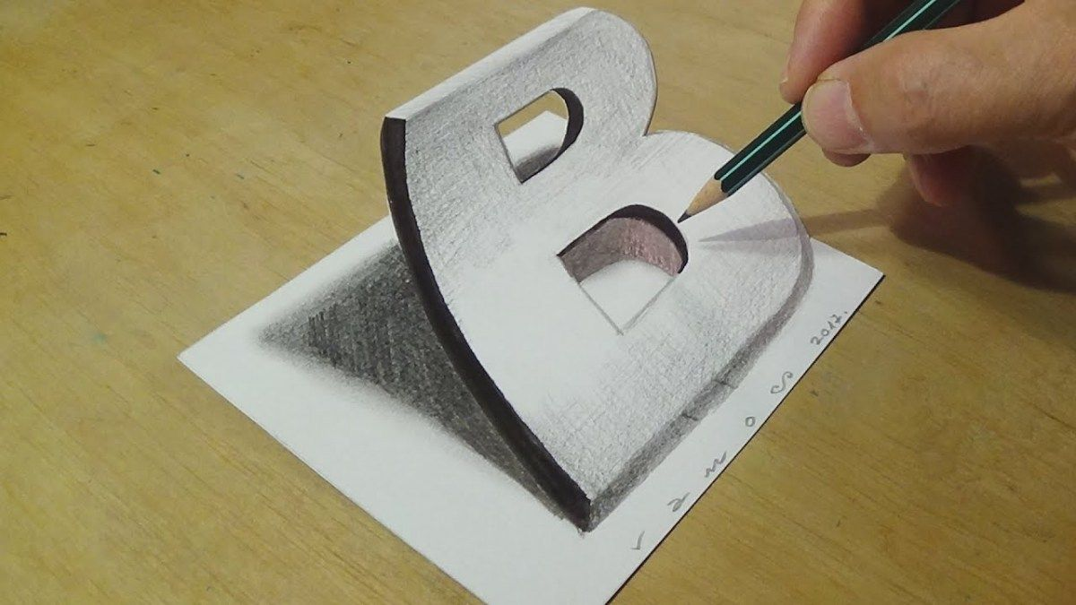 Beste Drawing 3D Letter B - Trick Art on Paper with Graphite Pencils TY-02
