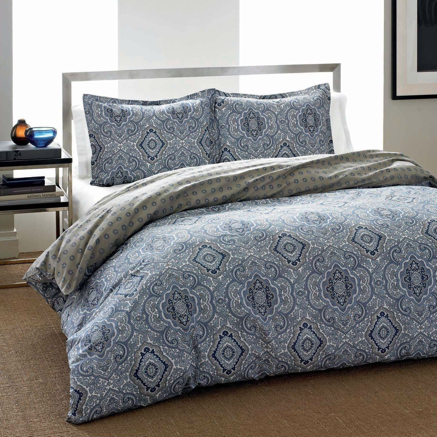 King 3 Piece Cotton Comforter Set With Blue Grey Damask Pattern Blue Comforter Sets Cotton Comforter Set Comforter Sets