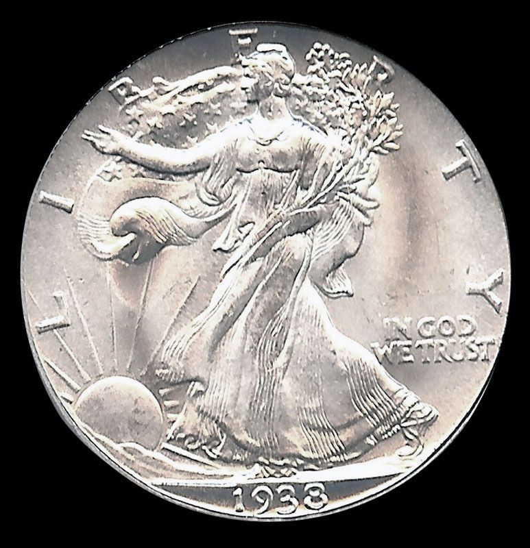 1938 d half dollar walking liberties were minted from 1916 to 1947