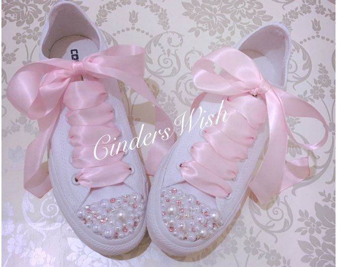 Pearl and pink crystal Converse bridal converse wedding