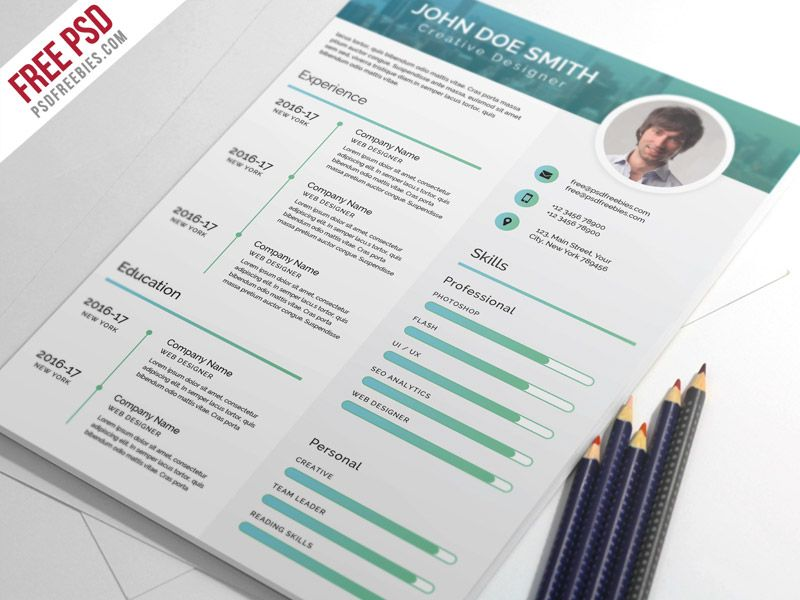 Free PSD : Elegant and Modern CV Resume PSD Template | Pinterest