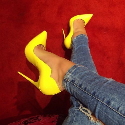 f5e3da382e9 Step into our sexy Lola yellow patent leather pump. The Lola pump features  a scallop side detail