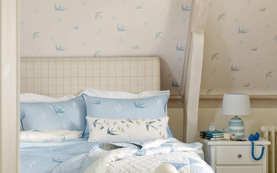 Seaspray Blue Wallpaper, Laura Ashley Bluebirds Bedding