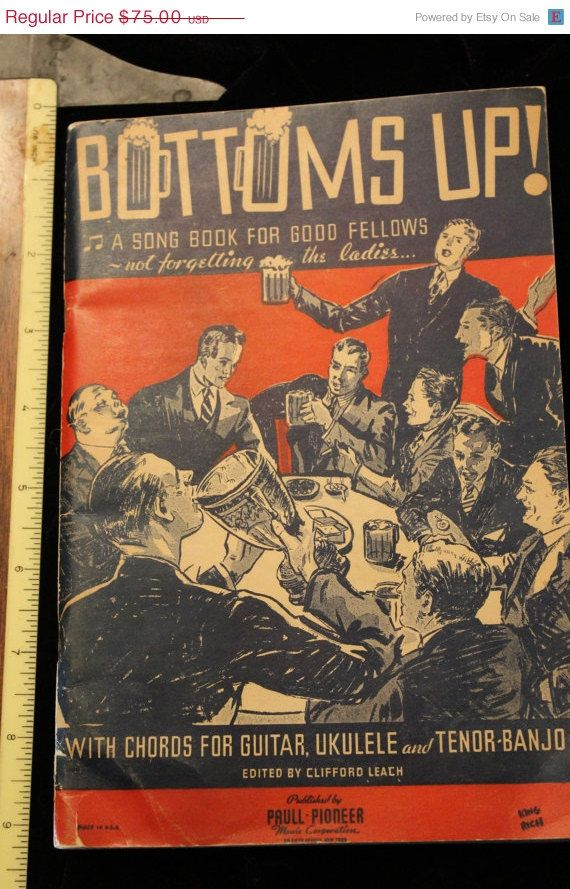 Winter Sale Bottoms Up Rare 1930s Song Guitar Book With