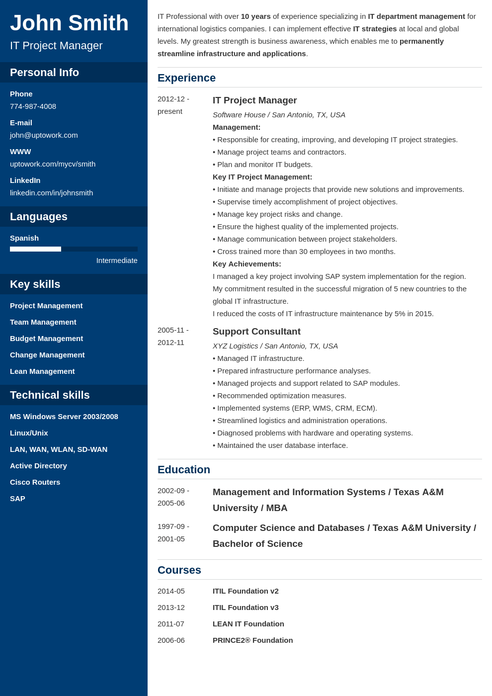 Professional Resume Template Cascade Career Builder