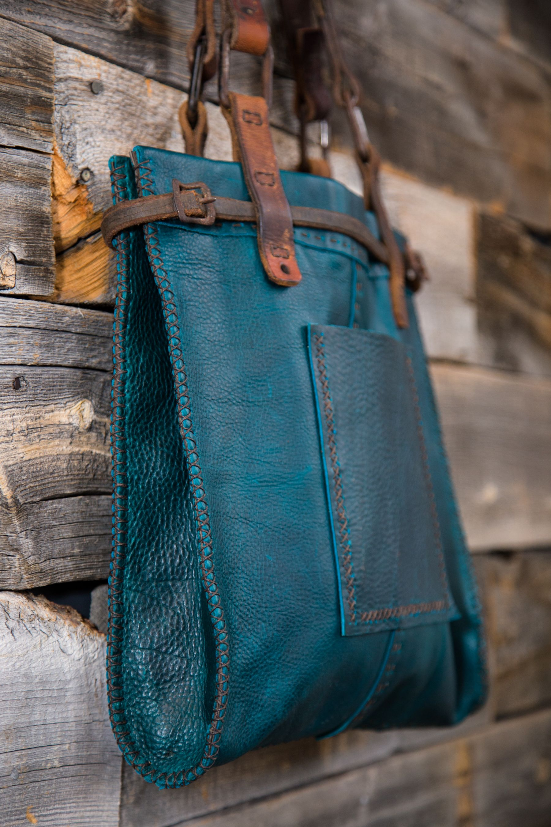 b0a6f8acd1cf LOVE this bag!! Sold out  ( CIBADO leather bags Entirely hand sewn teal  buffalo leather tote incorporating vintage horse tack to become handles and  ...