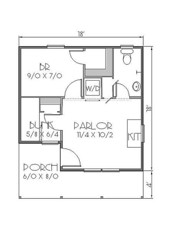 Cottage Style House Plan 2 Beds 1 Baths 300 Sq Ft Plan 423 45 Studio Floor Plans Guest House Plans House Plans