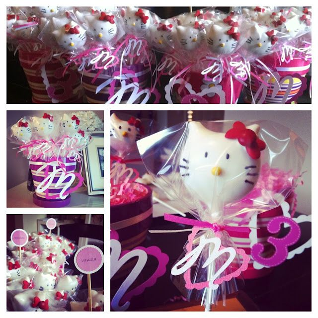 Hello Kitty cake pops I made for my Granddaughter's birthday party.