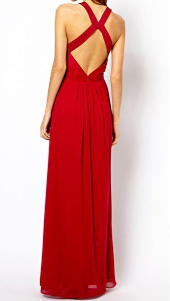 Charming Round Collar Solid Color Backless High Waist Sleeveless Chiffon Dress For Women, RED, S in Maxi Dresses | DressLily.com  Dupe för By Malina-klänning?