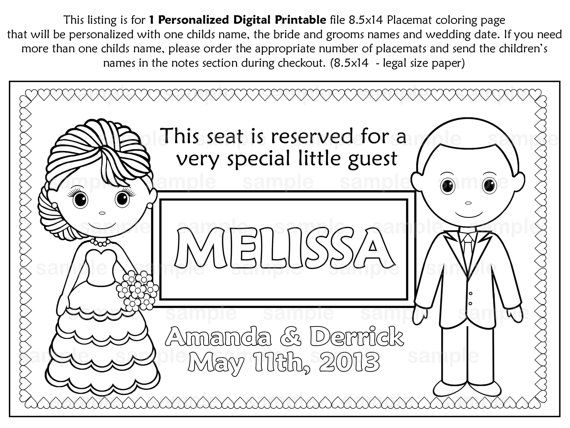 PRINTABLE Personalized Wedding Favor Placemat Childrens coloring ...
