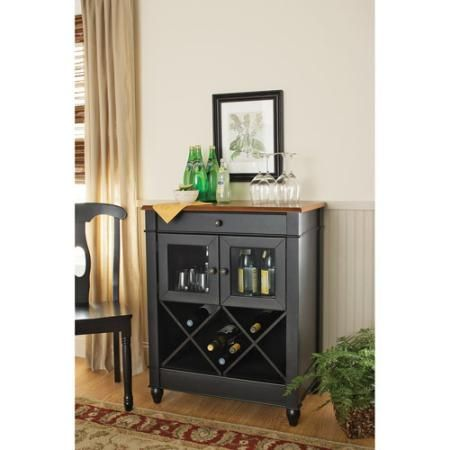 Better Homes And Gardens Autumn Lane Wine Cabinet, Black/Oak     Potential  Yarn Storage For Knitting Nook?