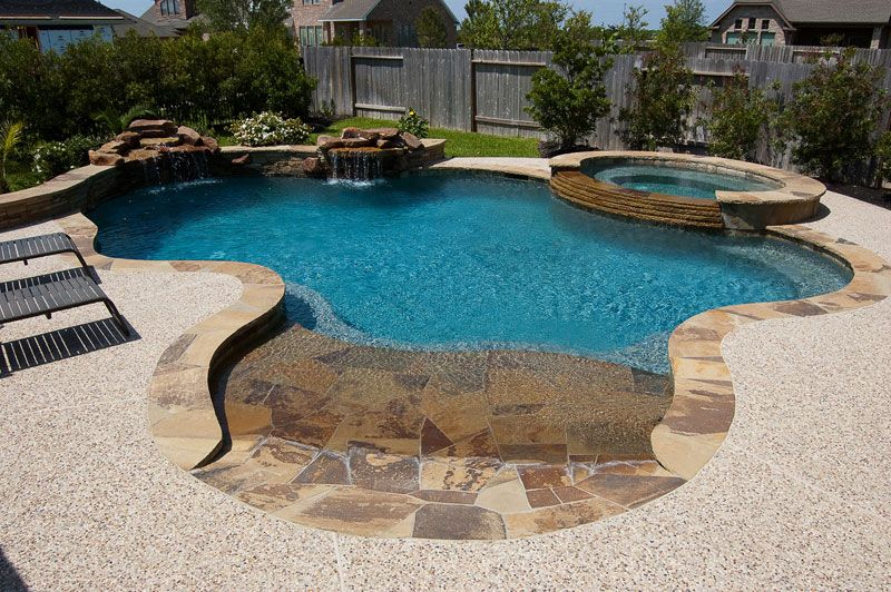 Beach entry swimming pools cypress custom pools for Pool design with beach entry