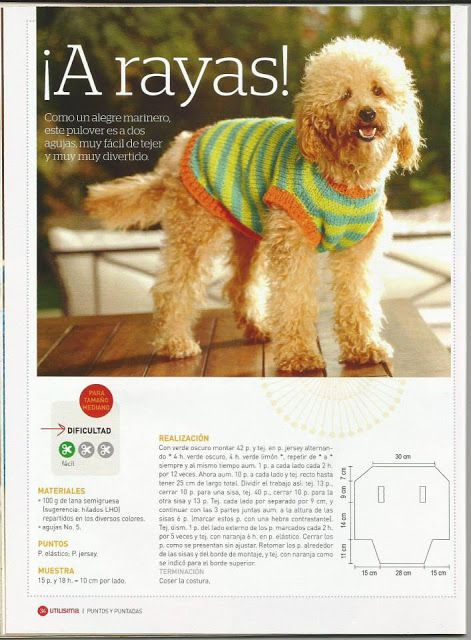 Patrón #608: Camisón para Perro a Dos Agujas | CTejidas [Crochet y ...