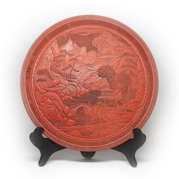 Large 13 Inch Japanese Landscape Carved Cinnabar Decorative Plate  sc 1 st  Pinterest & Large 13 Inch Japanese Landscape Carved Cinnabar Decorative Plate ...