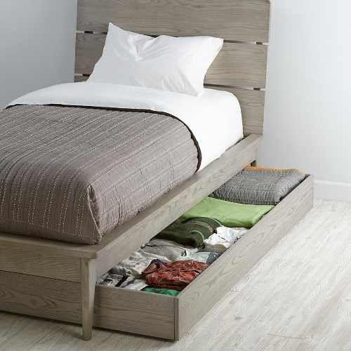 base cama doble cajón bajo madera individual - madera viva | Muebles ...