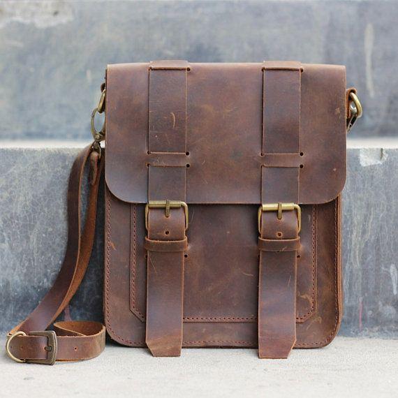 Mens Leather Satchel / Ipad Mini Messenger / Leather by JooJoobs, $144.00