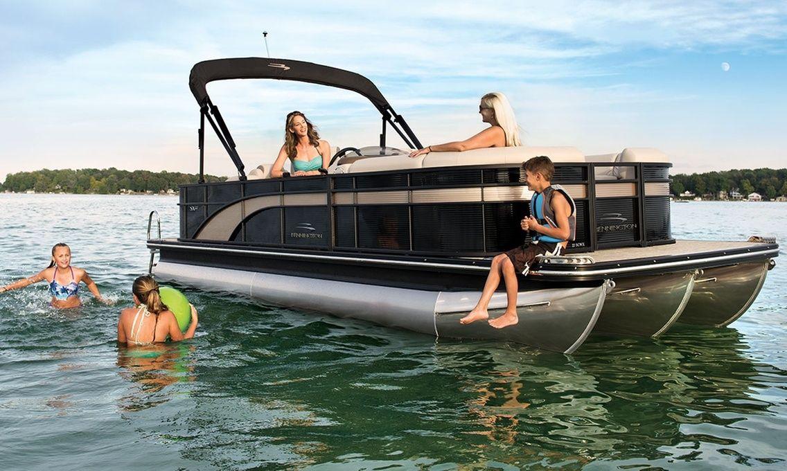 Bennington tripletube pontoon boat rental from lake