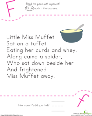 Find the Letter F: Little Miss Muffet | Kindergarten poetry ...