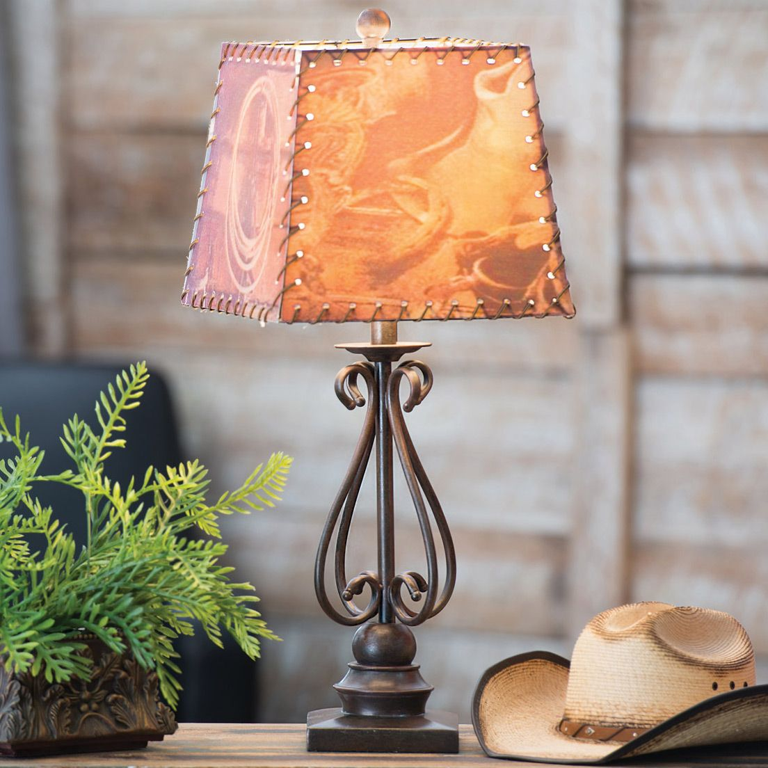 Scroll Metal Table Lamp W Western Shade Table Lamps Living Room