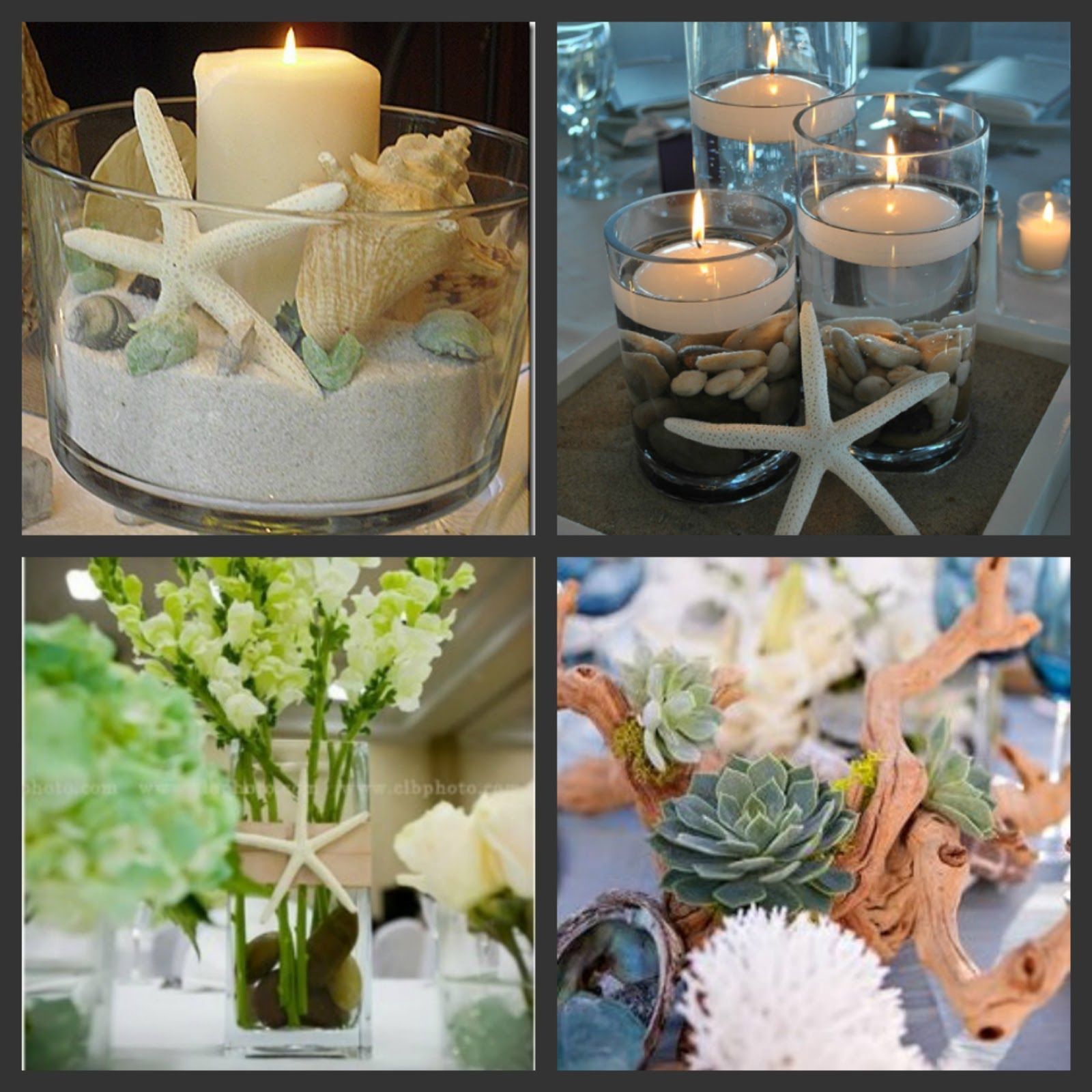 beach theme bridal shower centerpiece ideas weddings are fun blog rh pinterest com Beach Wedding Center Table Arrangements Beach Wedding Center Table Arrangements