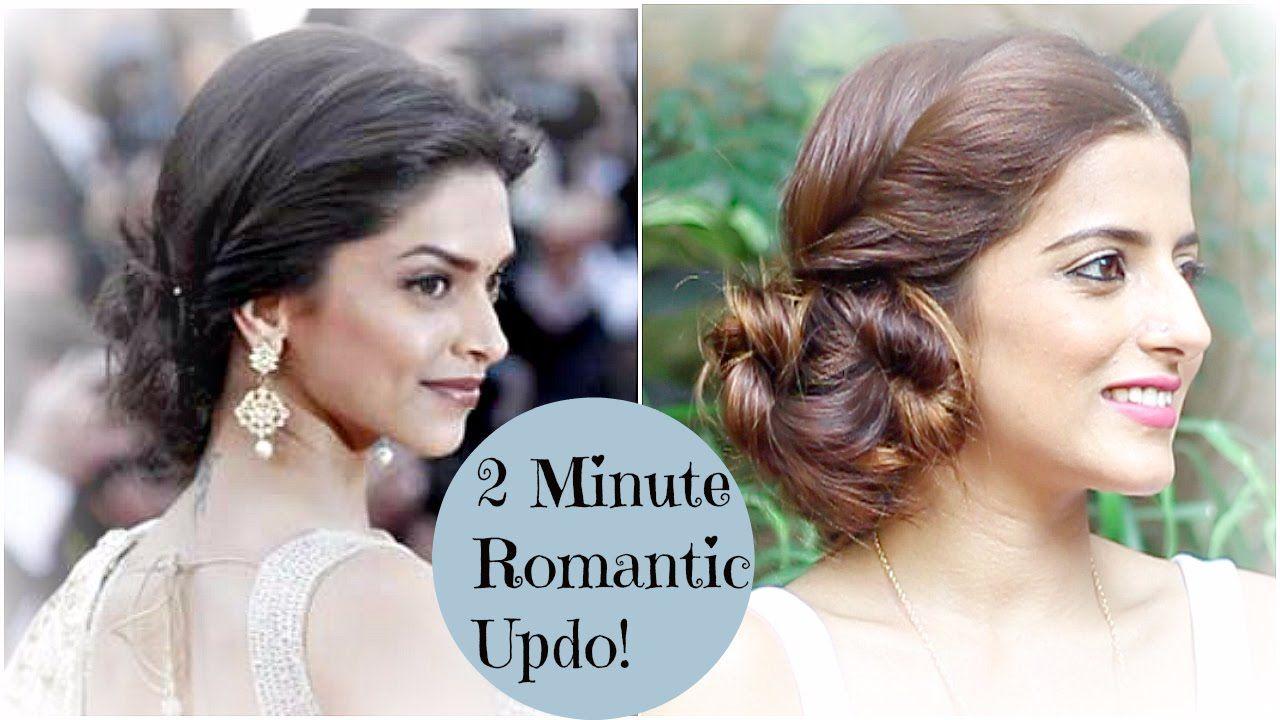 2 Minute ROMANTIC Bun Hairstyle - Deepika Padukone | EASY ...