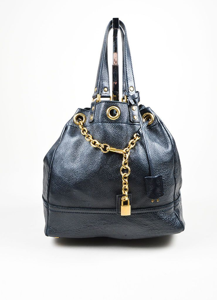 5a1224b35d64 Navy Leather Gold Toned Chain Drawstring Yves Saint Laurent