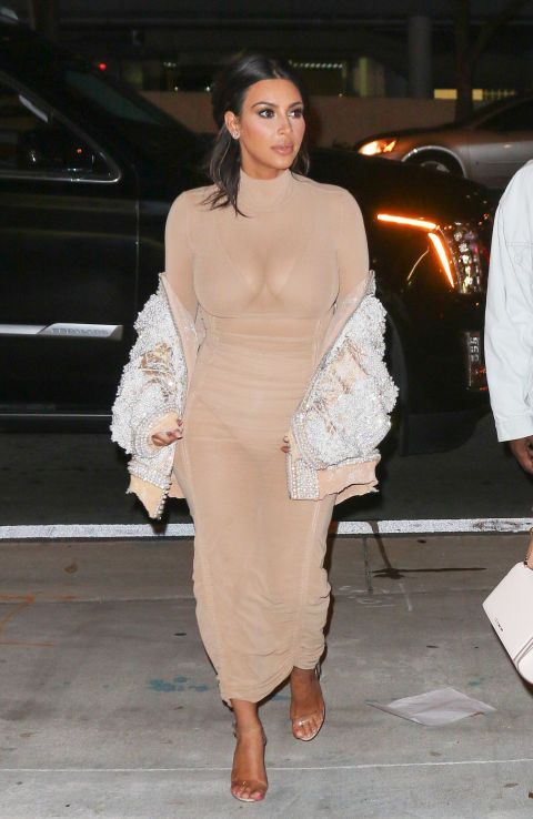 a1d85f87976 Attending a wedding in Miami wearing a nude mesh dress and clear heels by  Yeezy