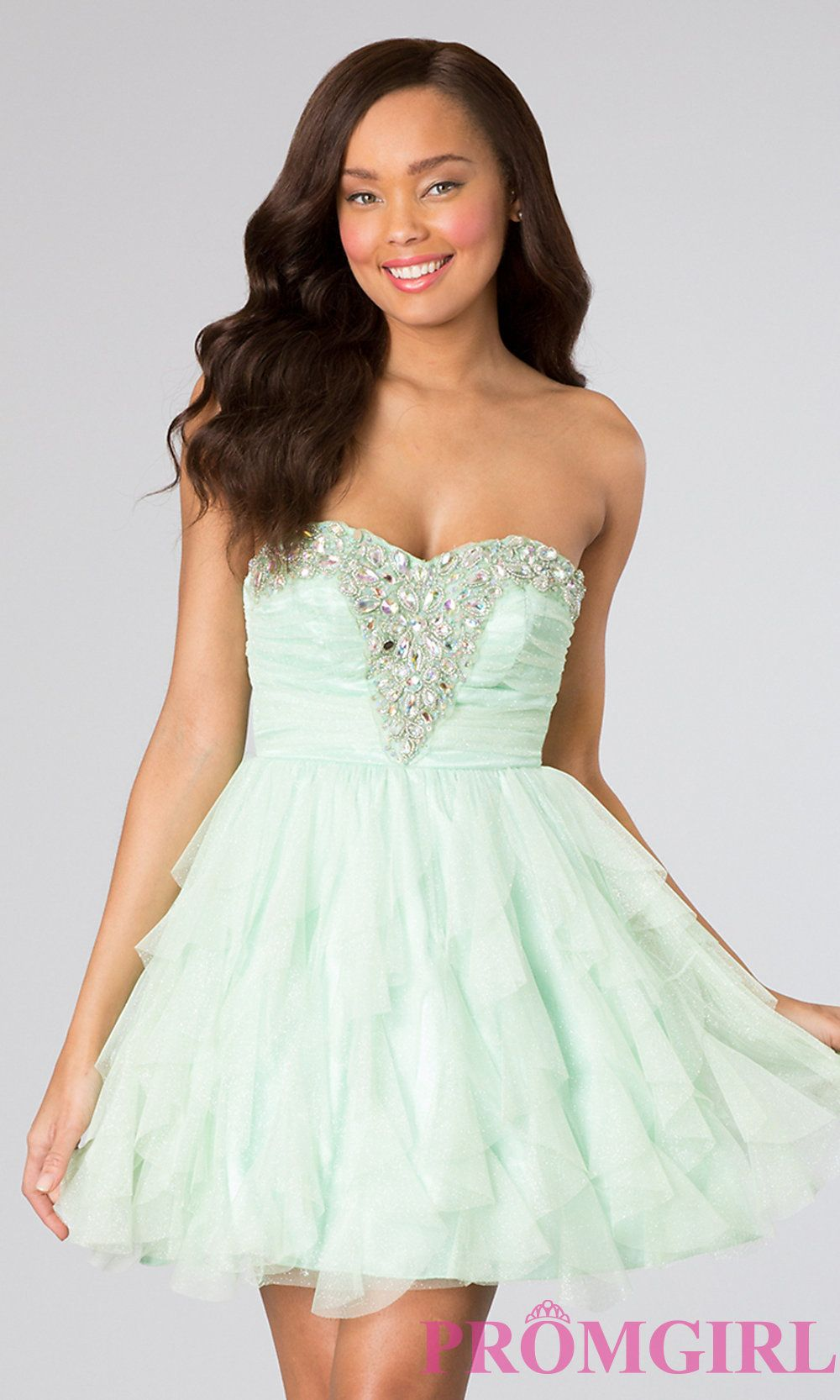 Strapless Party Dress, Bee Darlin Short Prom Dresses- PromGirl ...