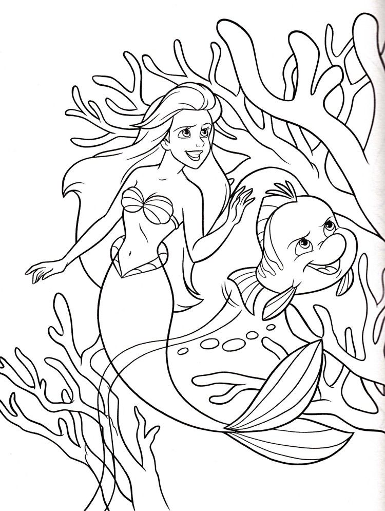 princess ariel flounder coloring pages