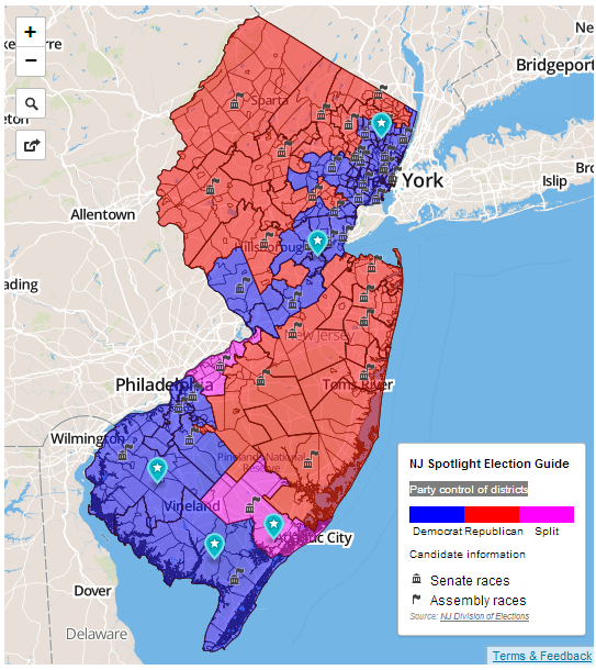 New Jersey Heat Map: Parties Control Power in Districts | Custom ...