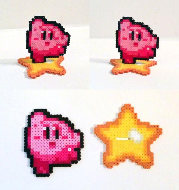 Perler Bead Kirby with Warp Star Base