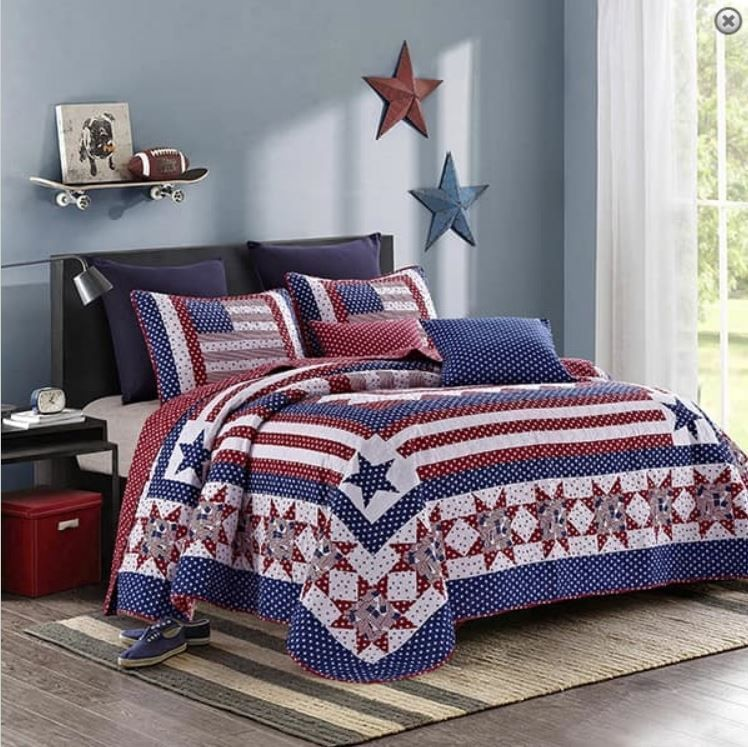 American Star Cal King Quilt Set Red White Blue Flag Country