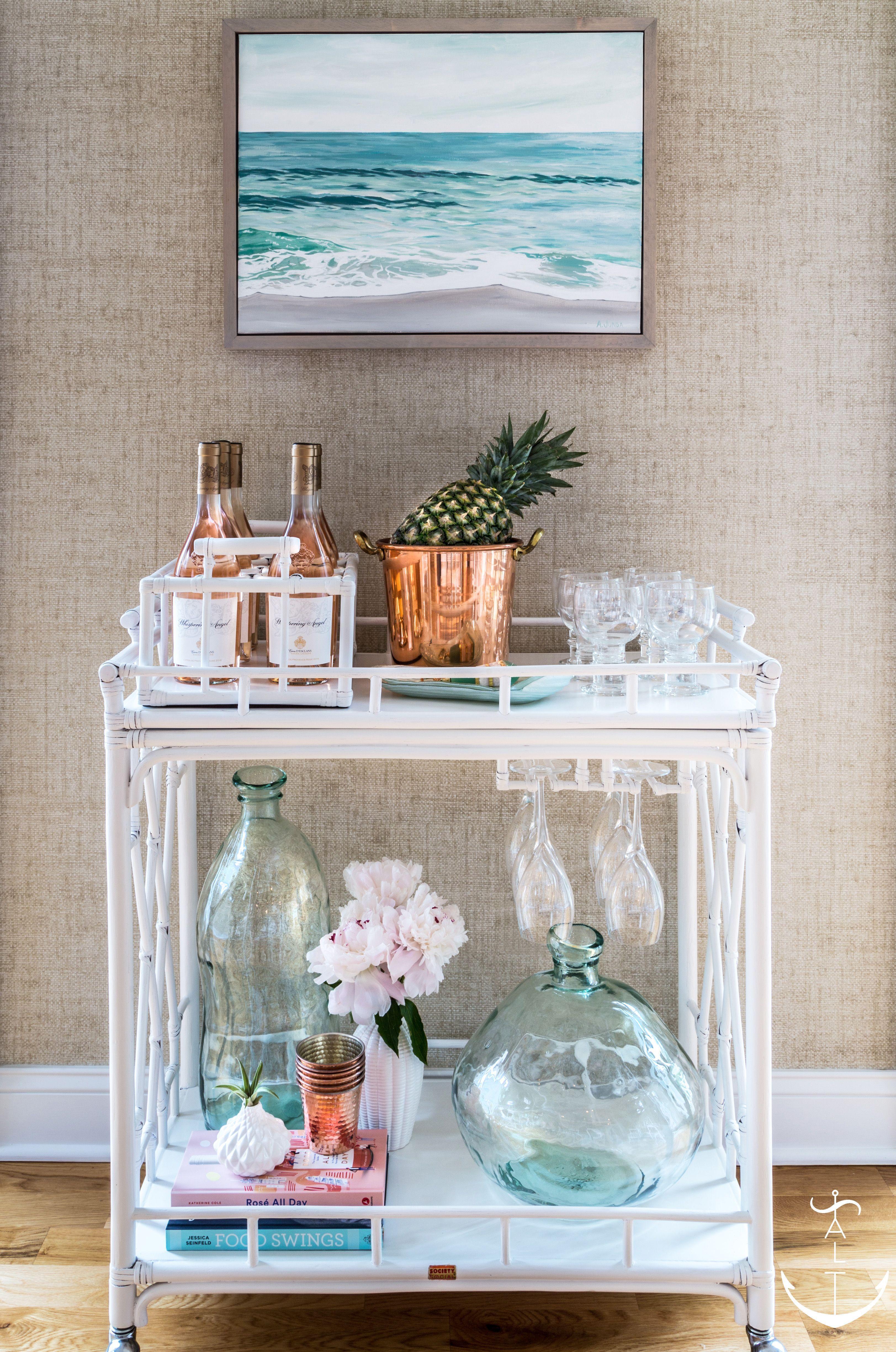 Sea Girt Retreat Bar Cart White Bar Cart Aqua Glass Vase Jugs Ocean Painting Coastal Bar Cart Stylin Bar Cart Decor Bar Cart Styling Home Bar Accessories
