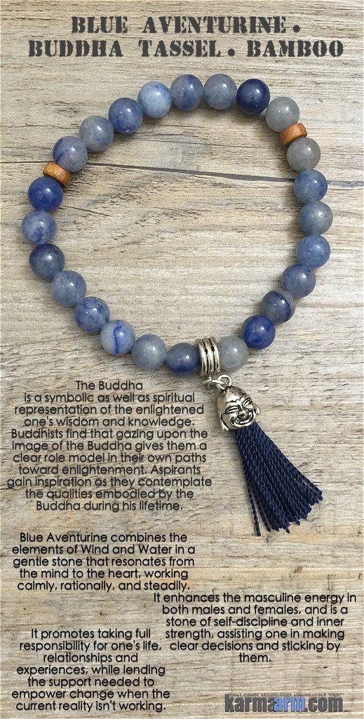 TAKE CHARGE: Blue Aventurine • Buddha Tassel Yoga Mala Bead Bracelet