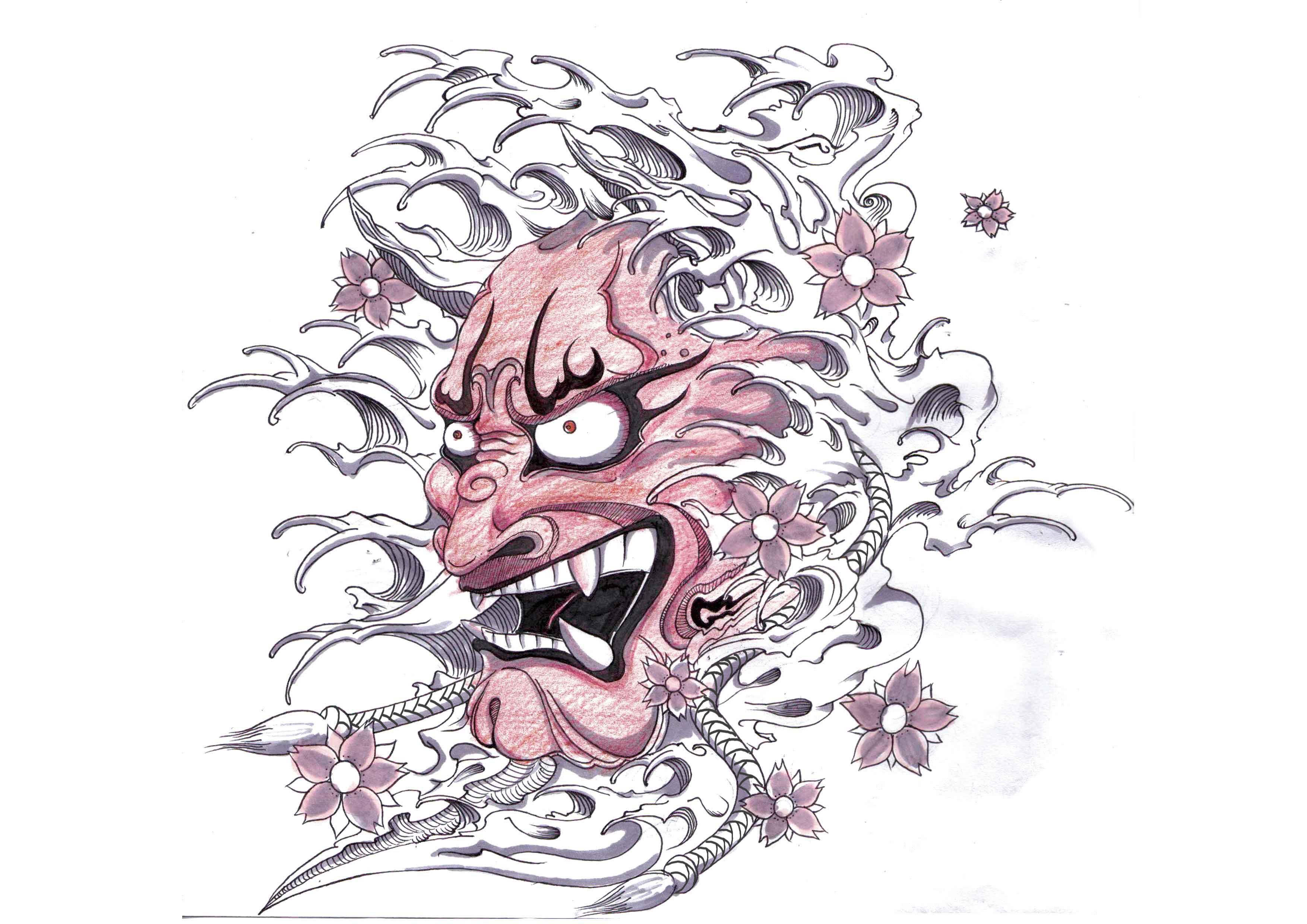 Hannya japanese mask tattoo design hannya mask tattoo