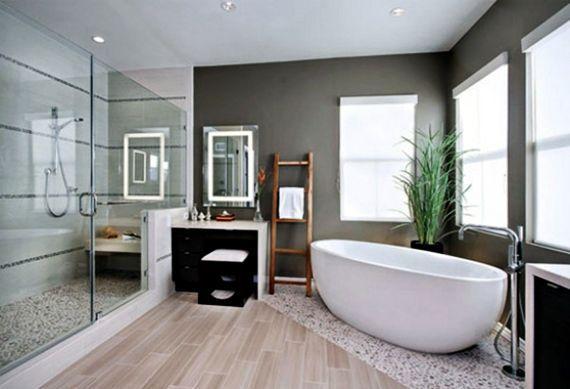 Dispersionsfarbe Badezimmer ~ Badezimmer idee für modernes bad mit dusche und badewanne graue