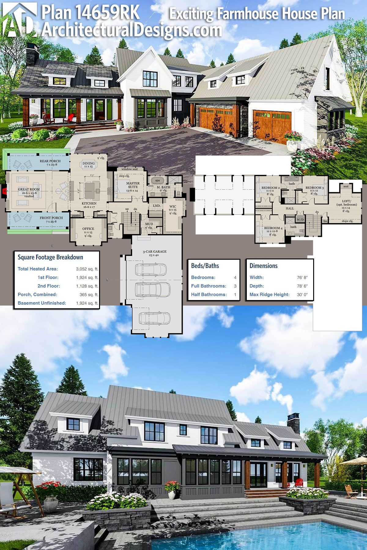 Plan 14659RK Exciting Farmhouse House Plan Modern