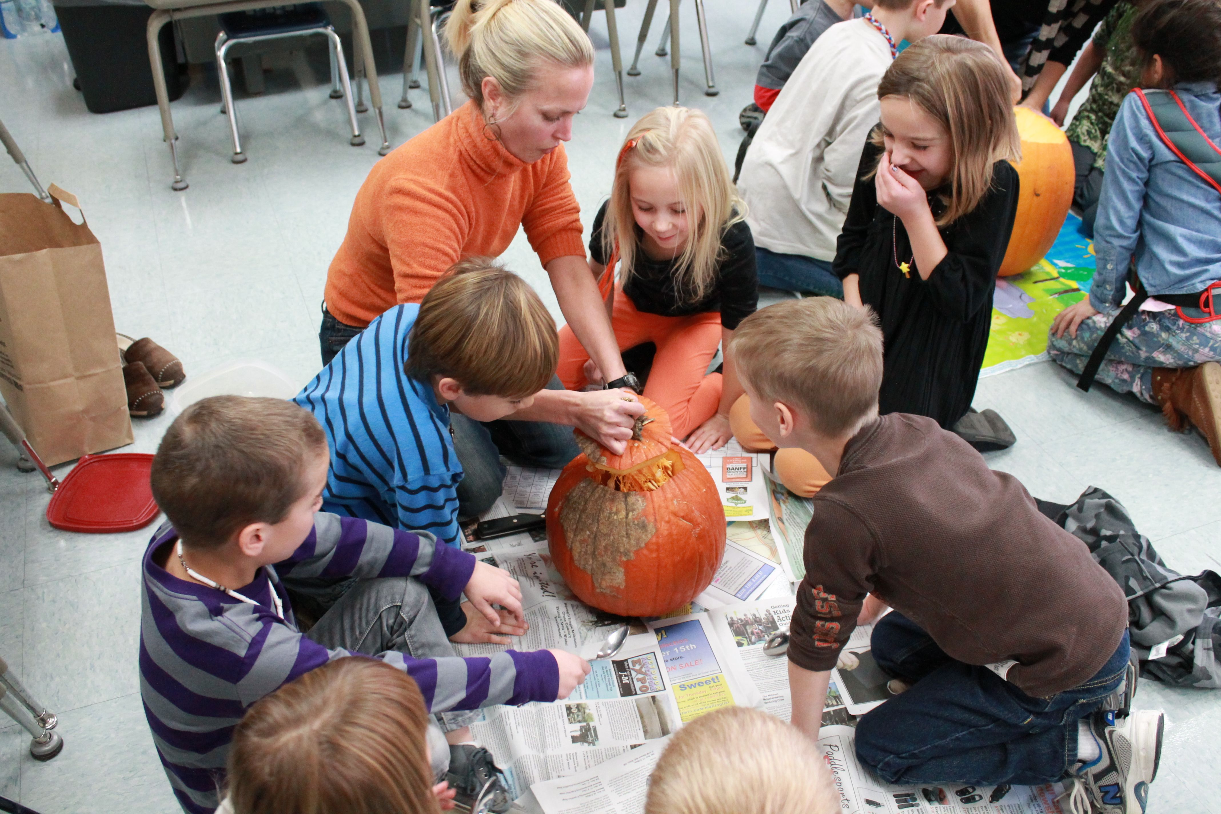 1st Grade Carving Pumpkins