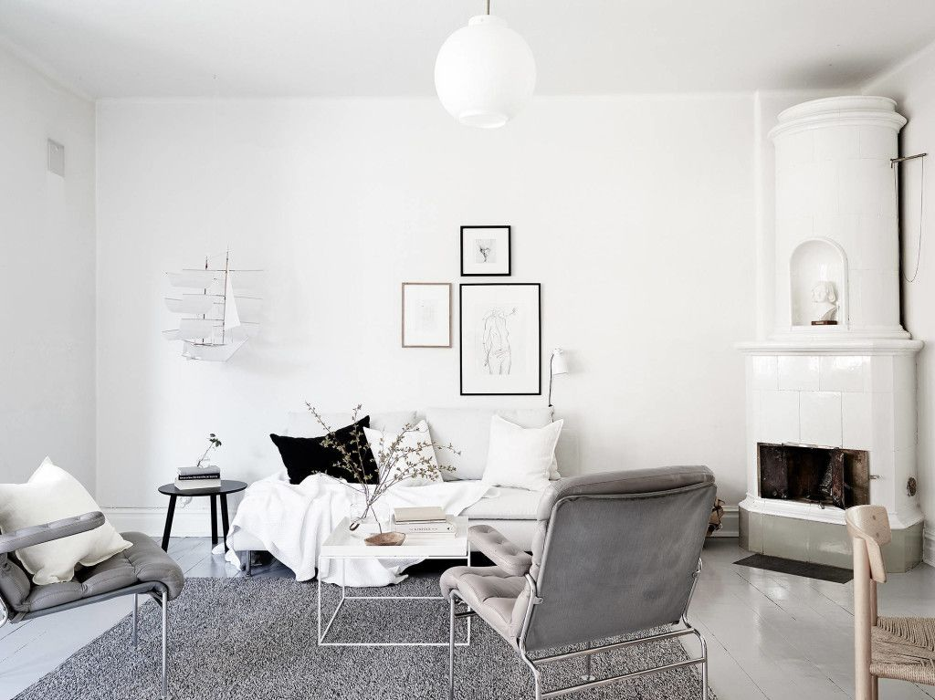 Bright Home With A Soft Look Coco Lapine Design Bright Homes Home Grey Leather Armchair
