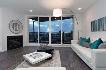 grey hardwood floors and white sofa