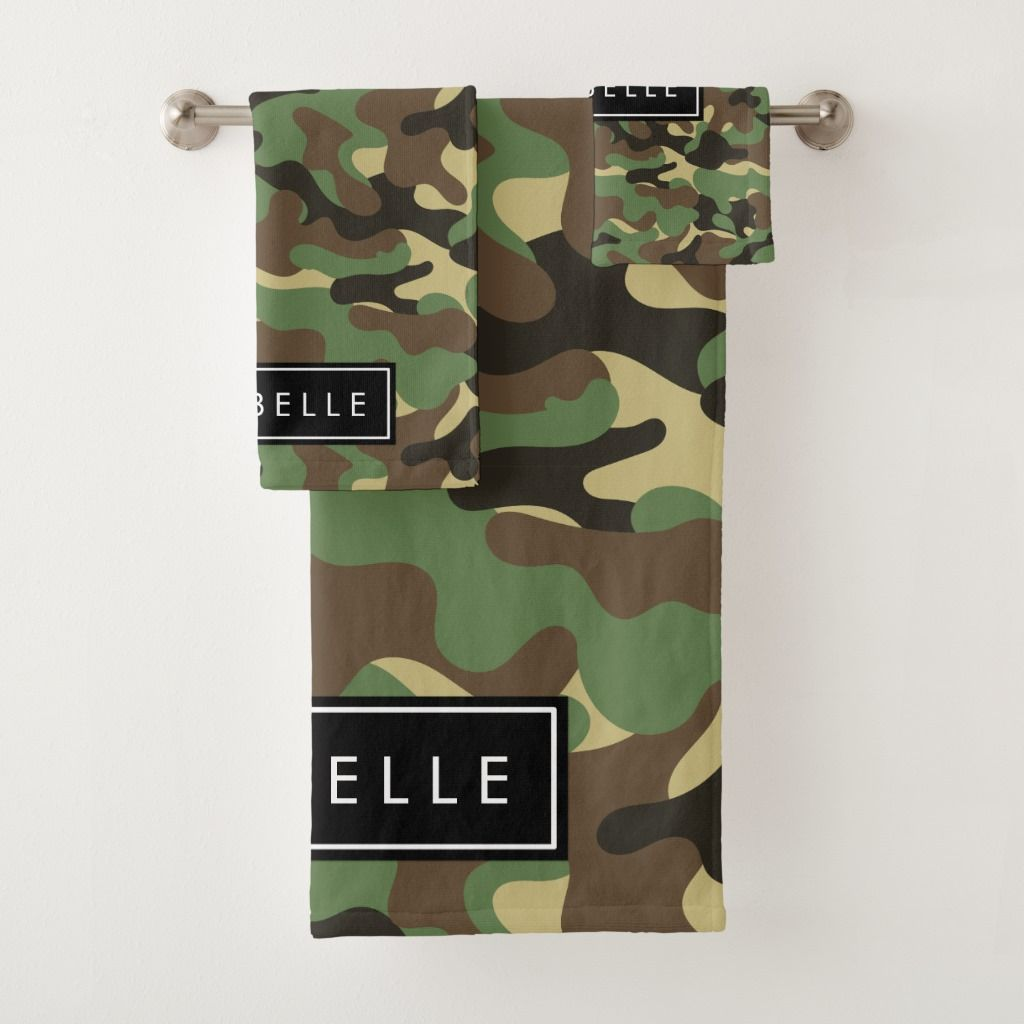Your Name Military Camouflage Pattern Green Bath Towel Set