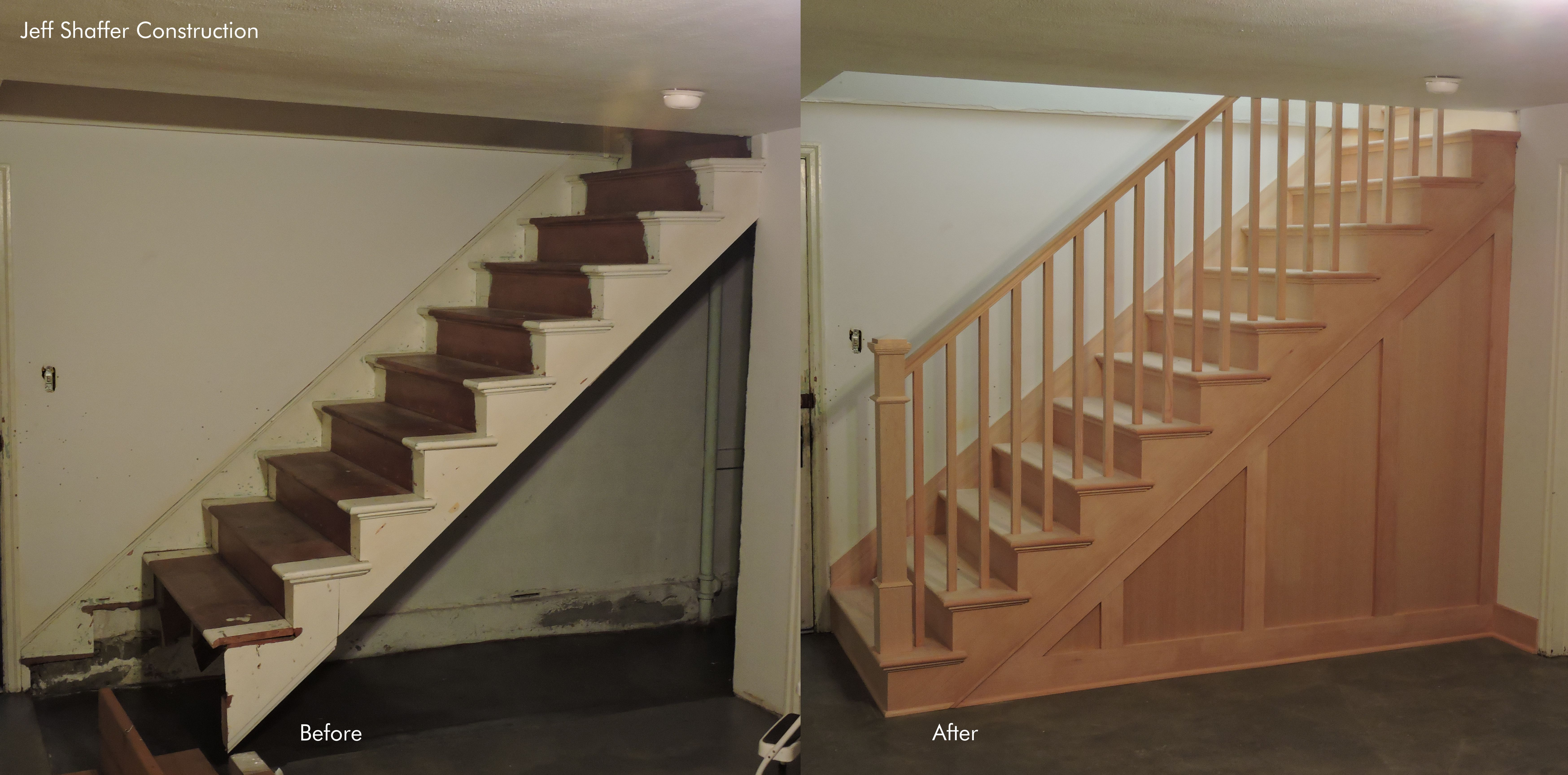 Basement Stairs   Before And After, Beautifully Installed In Fir By Shaffer  Construction