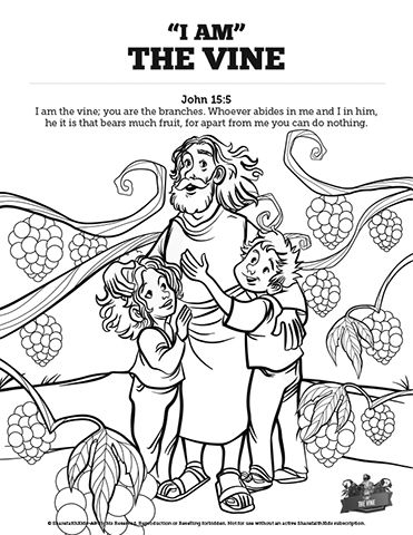 John 15 I Am The Vine Sunday School Coloring Pages: Pass