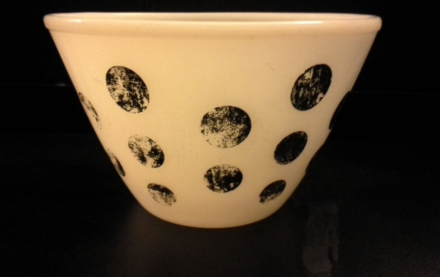 RARE Fire King Black Polka Dot Mixing Bowl, Anchor Hocking, Pyrex ...