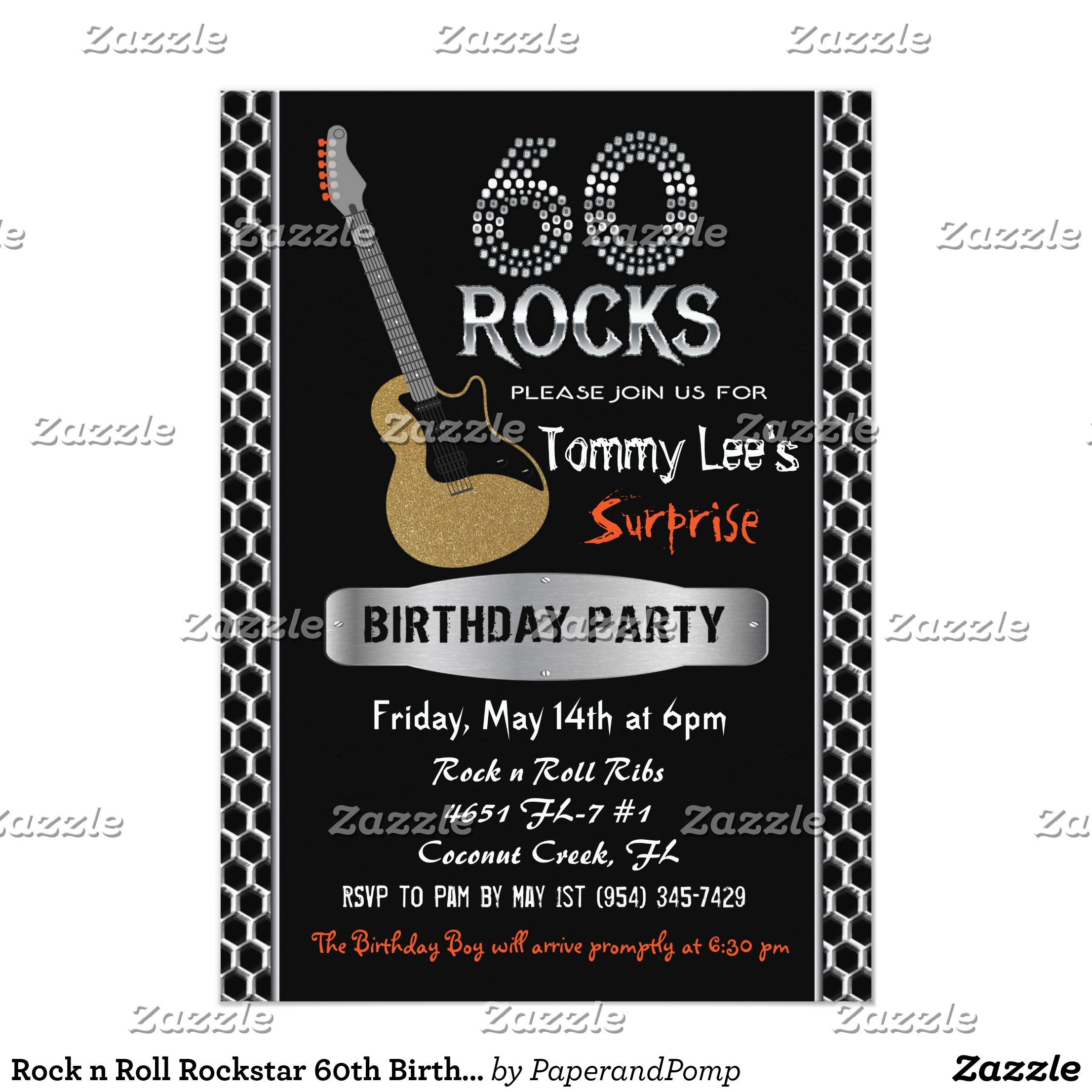 Rock n Roll Rockstar 60th Birthday Invitation | 60th birthday ...